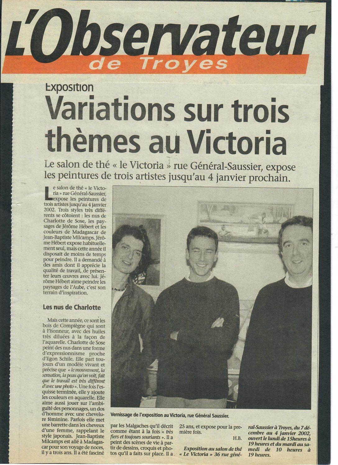 Exposition au salon de thé «Victoria»