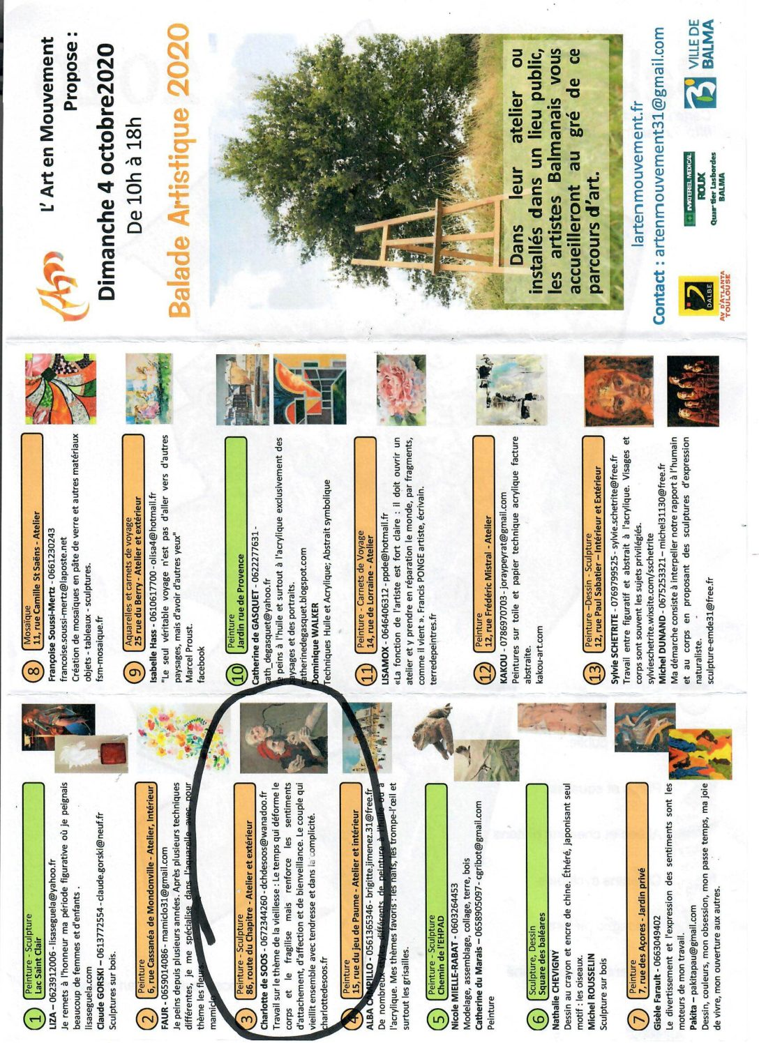 Septembre 2020 : Promenade artistique « Portes ouvertes des ateliers d'artistes de Balma »